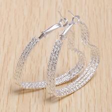 925 Silver Heart Hoop Stud Dangle Earrings Women Wedding Engagement Jewelry