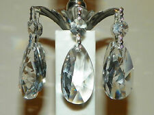 5 Asfour #873-50mm Crystal Chand~Lamp Prism TearDrops w/Bead Tops-Silver