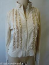 Ladies Beige 100% Cotton Ruffled Zip Through Jacket Top UK 10 EU 38