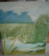 BIG Original Oil Painting Palm Trees SIGNED JC LOOK
