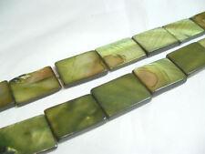 10 x MOP Dyed flat oblong shell beads: OB17 Green