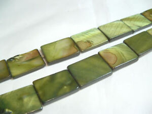 10 x MOP Dyed flat oblong shell beads: OB17 Green