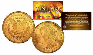 1921 Pure AU/BU MORGAN SILVER DOLLAR full 24K GOLD Plated US Coin COA & CAPSULE