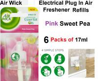 Air Wick 6 x 17ml Electrical Plug In Air Freshener Refill - Pink Sweet Pea