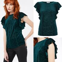 Brand New Monsoon Valentina Green Velvet Burntout Ruffle Sleeve Top RRP £45 8-22
