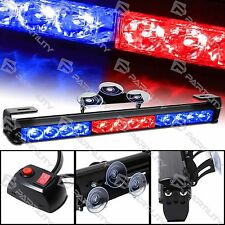 14 in LED Red Blue Light Emergency Warning Strobe Flashing Bar Hazard Security