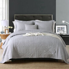 100% Cotton Coverlet / Bedspread Set King / Super King Size Bed 240x270cm Grey