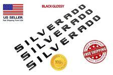3PCS SILVERADO EMBLEM BLACK GLOSSY DOOR BADGE CHEVY NAMEPLATE TAILGATE