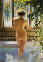 "HD Art  Canvas Print Oil Painting Woman At The Window  Home Decor 16""x24"""