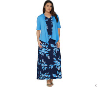 New $60 Value! Denim & Co. XXS Blue Floral V-Neck Sleeveless Maxi Dress w/Shrug
