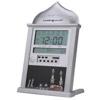 Silver LCD Automatic Islamic Muslim Prayer Azan Athan Alarm Wall Clock Qibla IS