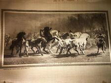 "Original SILK Engraving c.1891 John A. Lowell Co. Rosa Bonheur ""Horse Fair"""