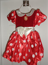Disney Store Original Style Minnie Mouse Costume RED Dress with Gloves NEW XXS