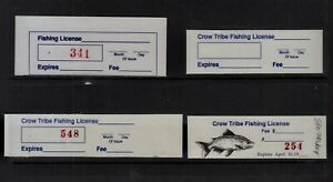 4 CROW INDIAN RESERVATION MINT FISHING LICENSE STAMPS, CW #4, 7,  7v & 8. VF NH.