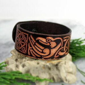 Brown Viking Ravens Of Odin Leather Birds Eagle Wrist Cuff Celtic Knot Wristband
