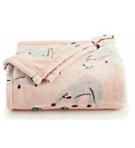 Big One Oversized Super Soft Pink Throw Blanket Cute Cuddly Sloths 5 x 6