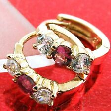 FS588 GENUINE 18K ROSE G/F GOLD DIAMOND SIMULATED RUBY HUGGIE HOOP EARRINGS