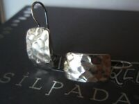 SILPADA RETIRED Sterling Silver 925 Hammered Rectangular Earrings W0991
