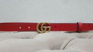 Gucci  red skinny belt, golden tone buckle