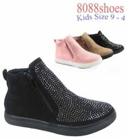 Youth Girl's Kid's Cute Studded Zipper Flat School Sneaker Shoes Size 9 - 4 NEW