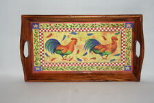 Small Wooden Rooster Decorative Serving Tray 12 1/2  x 7 Country Wall Decor