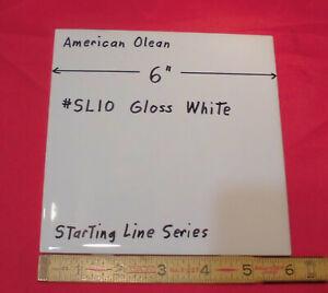 """1 pc. *Gloss White #SL10*  Ceramic Tile; 6"""" X 6"""" American Olean """"Starting Line"""""""