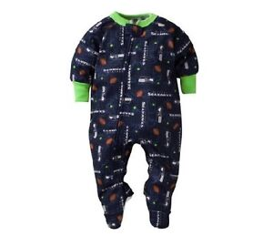 Gerber Toddler Boy NFL Seattle Seahawks Blanket Full-Zip Sleeper 2T BABY CLOTHES