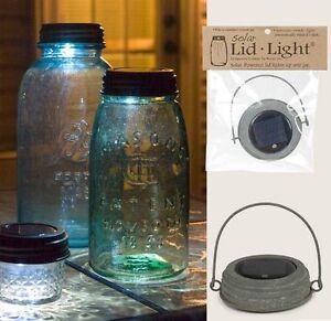HANGING GALVANIZED SOLAR Powered Mason Canning Jar LED LID LIGHT Rustic Lamp