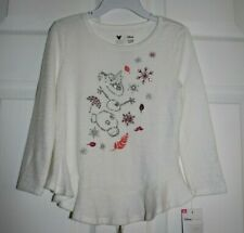 GIRLS SIZE 4T LONG SLEEVE LS LIGHT SWEATER TOP w/OLAF ON THE FRONT by DISNEY/JUM