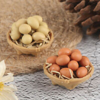 1:12 Dollhouse Miniature Accessories Kitchen Food Mini Egg with Egg BasketsJ Yf