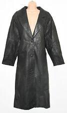 Vintage Black Leather PELLE STUDIO Fitted Biker Button Coat Long Jacket Size S