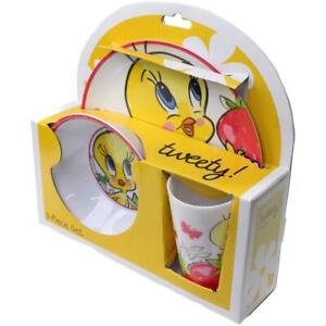 Warner Bros. Tweety Bird Strawberry 3PC Melamine Kids Dinnerware Set
