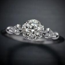 1.15 Ct Floral Halo Round Cut Moissanite Engagement Wedding Ring 9K White Gold