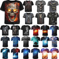 3D Fashion Men Funny Skull Print T-Shirt Casual Crew Neck Short Sleeve Tops Tee