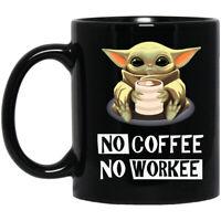 Baby Yoda, No Coffe No Workee, Funny Gift 1, Black Coffee Mug