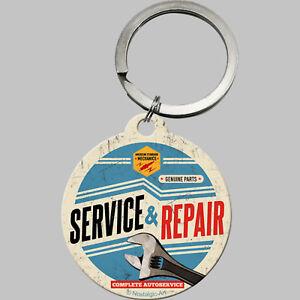 Nostalgic Art Schlüsselanhänger rund 4cm SERVICE & REPAIR REPARATUR WERKSTATT *