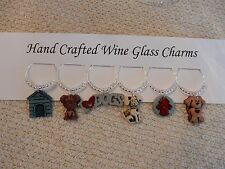 """""""I LOVE DOGS"""" SET OF 6 Hand Crafted Wine Glass Charm drink markers"""