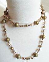 collier sautoir vintage 1970 perles granuleuse de couleur or  B1