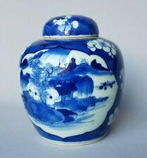 Chinese blue & white ginger jar with prunus, cracked ice/ landscape /Kangxi mark