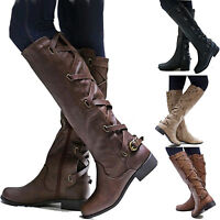 Womens Flat Low Heel Knee High Leg Calf Boots Casual Motorcycle Riding Shoes Hot