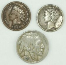 Mercury Silver Dime Buffalo Nickel Indian Head Cent Coin Lot - Free Wheat Penny!