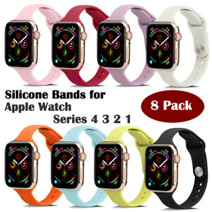 8 Pack Sports Silicone Slim Women and Mens Bands for Apple Watch Series 4/3/2/1
