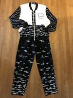 VTG PETER POPOVITCH 2 piece Top Pant Set Art Nautical Fish Black White Size XL