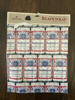 Vintage Hallmark Budweiser Beer Can Gift Wrap Wrapping Paper READYWRAP