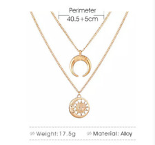 clavicle chain ladies Simple moon double necklace