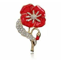 Poppy Brooches Pins Red Flower Poppies Badges Gift Vintage Collection Crystal