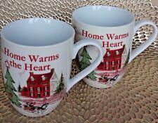 Fitz And Floyd Set Of 2 Christmas Home Warms The Heart Coffee Mug / Cup