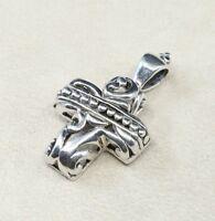 Vintage Sterling Silver Handmade Pendant, 925 silver cross