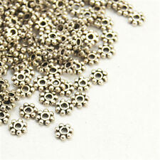 200pcs Tibetan Style Snowflake Spacer Beads Jewelry Findings 4mm Antique Silver