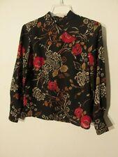 S6661 Pendleton Women's Size 4 Petite Black Floral Qi Pao Style Blouse/Skirt Set